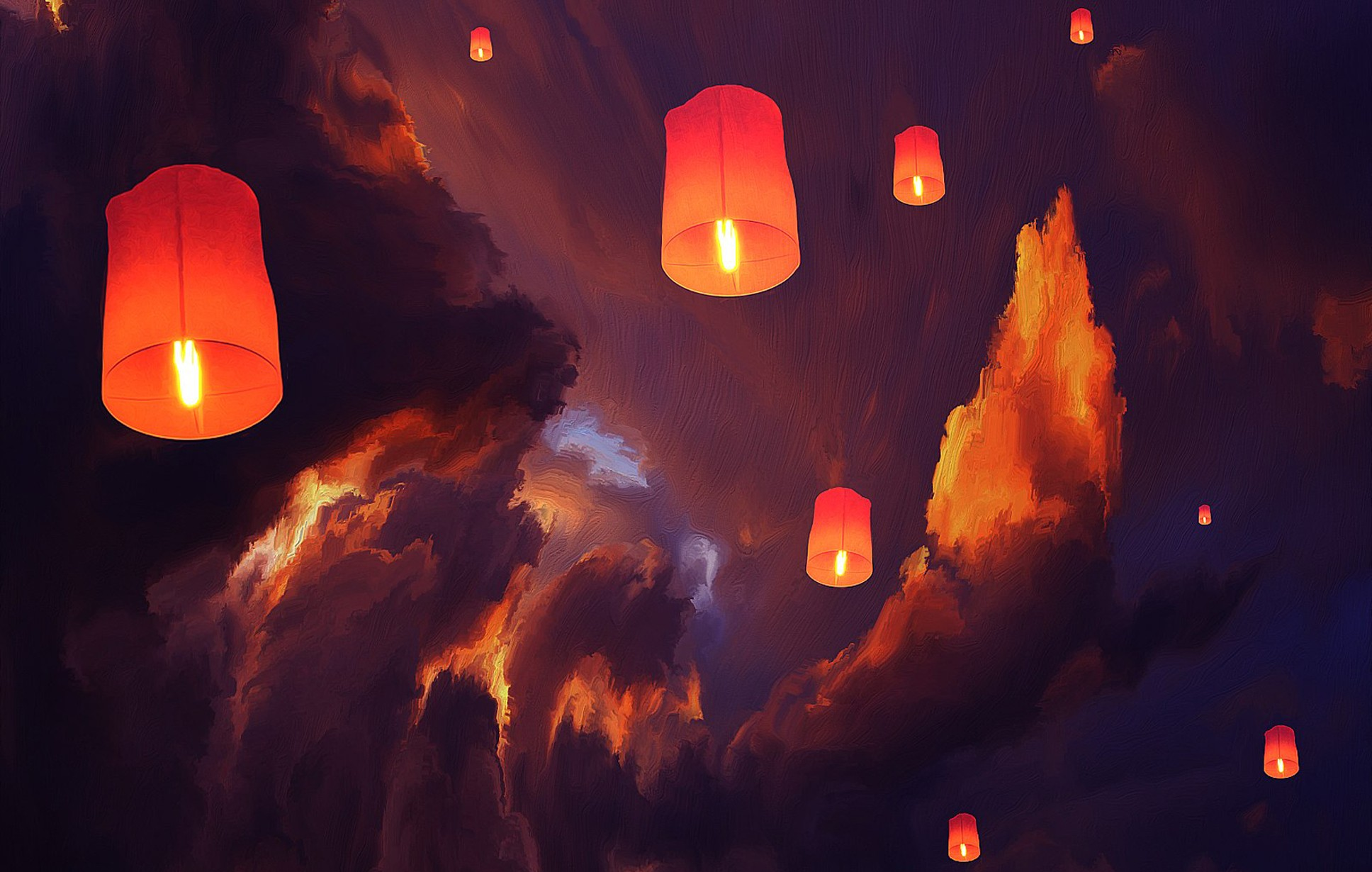 Sky Lanterns Wallpaper Iphone Lantern Sky Lanterns Clouds Artwork Floating