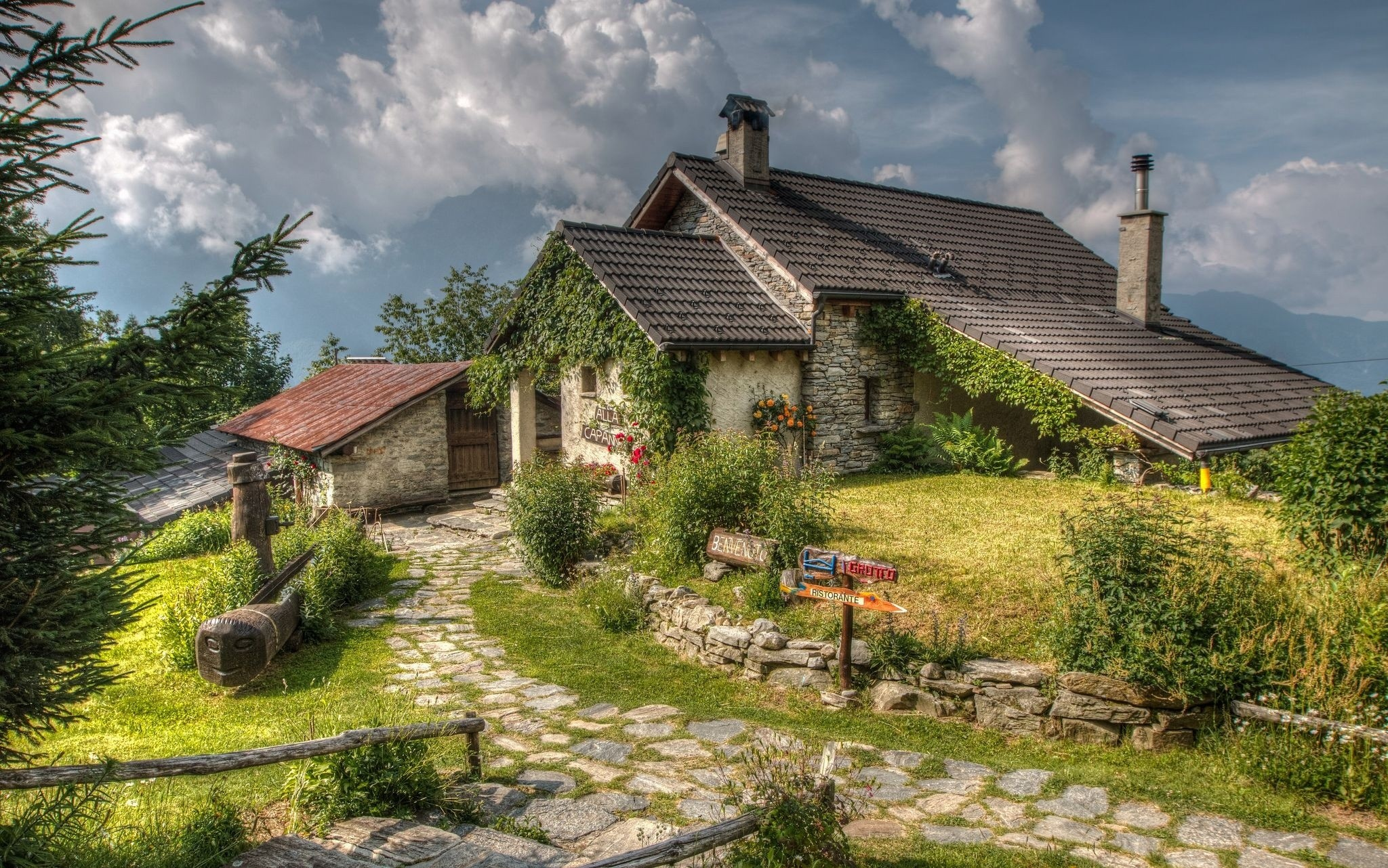 Sala E Cucina In Inglese Sky, House, Italy, Stone House, Trees, Clouds Wallpapers
