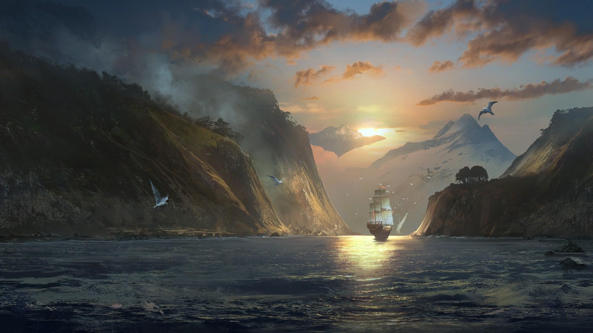 Breaking Dawn Wallpaper Hd Sergey Zabelin Digital Art Nature Landscape Clouds
