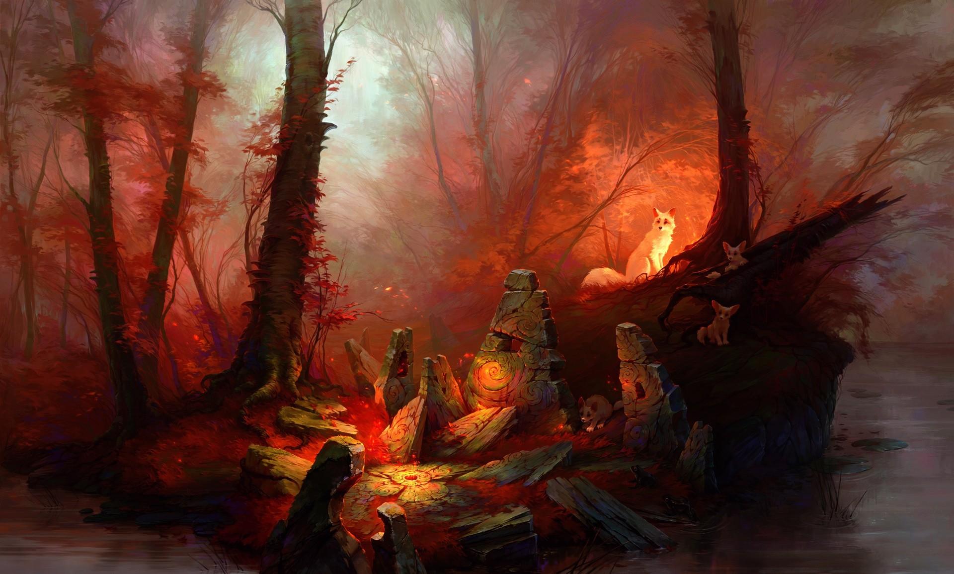 3d Wallpaper For Laptop Full Screen Red Forest Animals Fantasy Art Artwork Wallpapers Hd