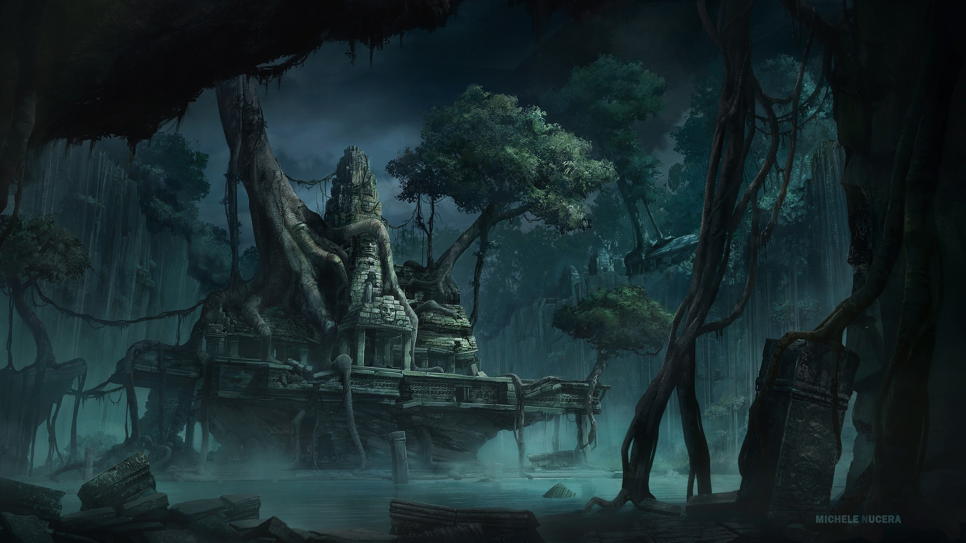 Michele nucera temple jungle fantasy art wallpapers hd