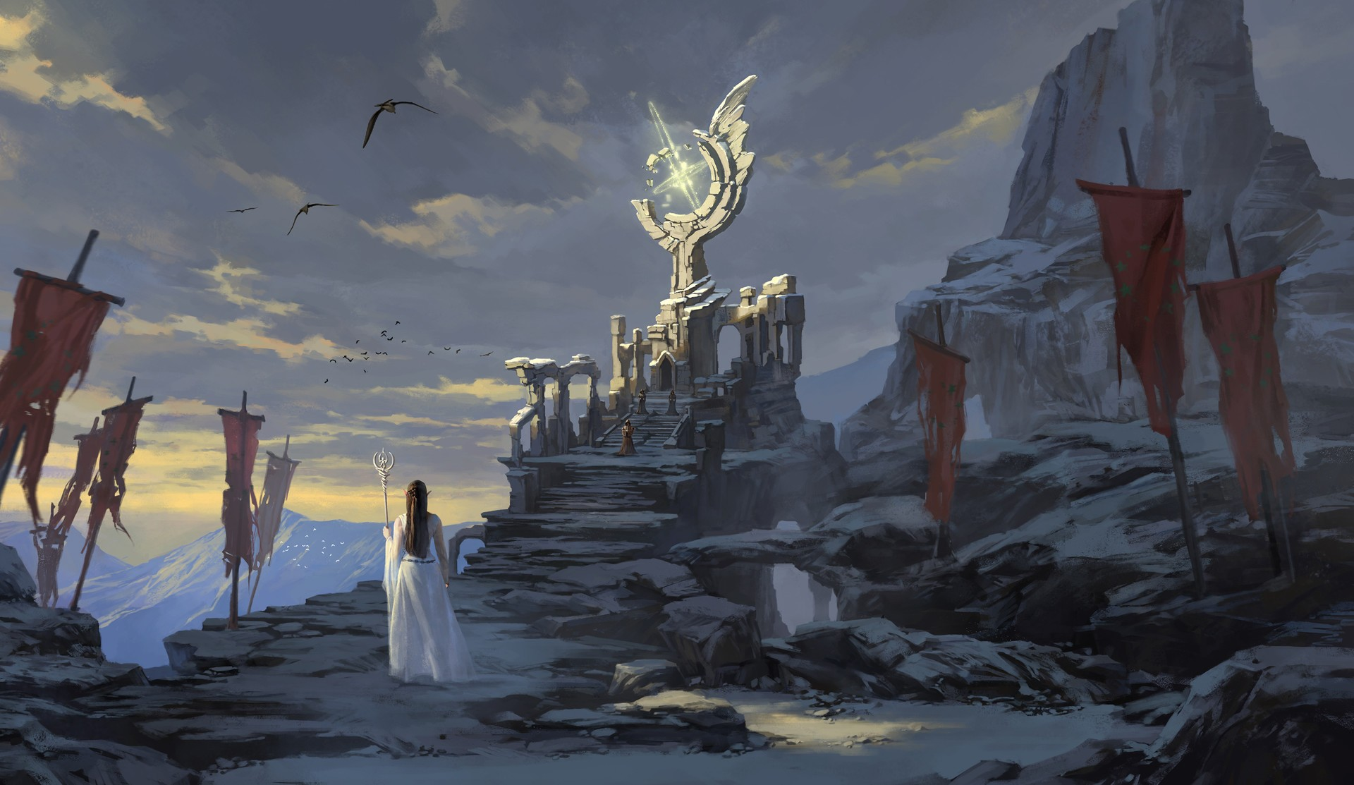 3d Crystal Wallpaper Princess Fantasy Art Throne Magic Wallpapers Hd