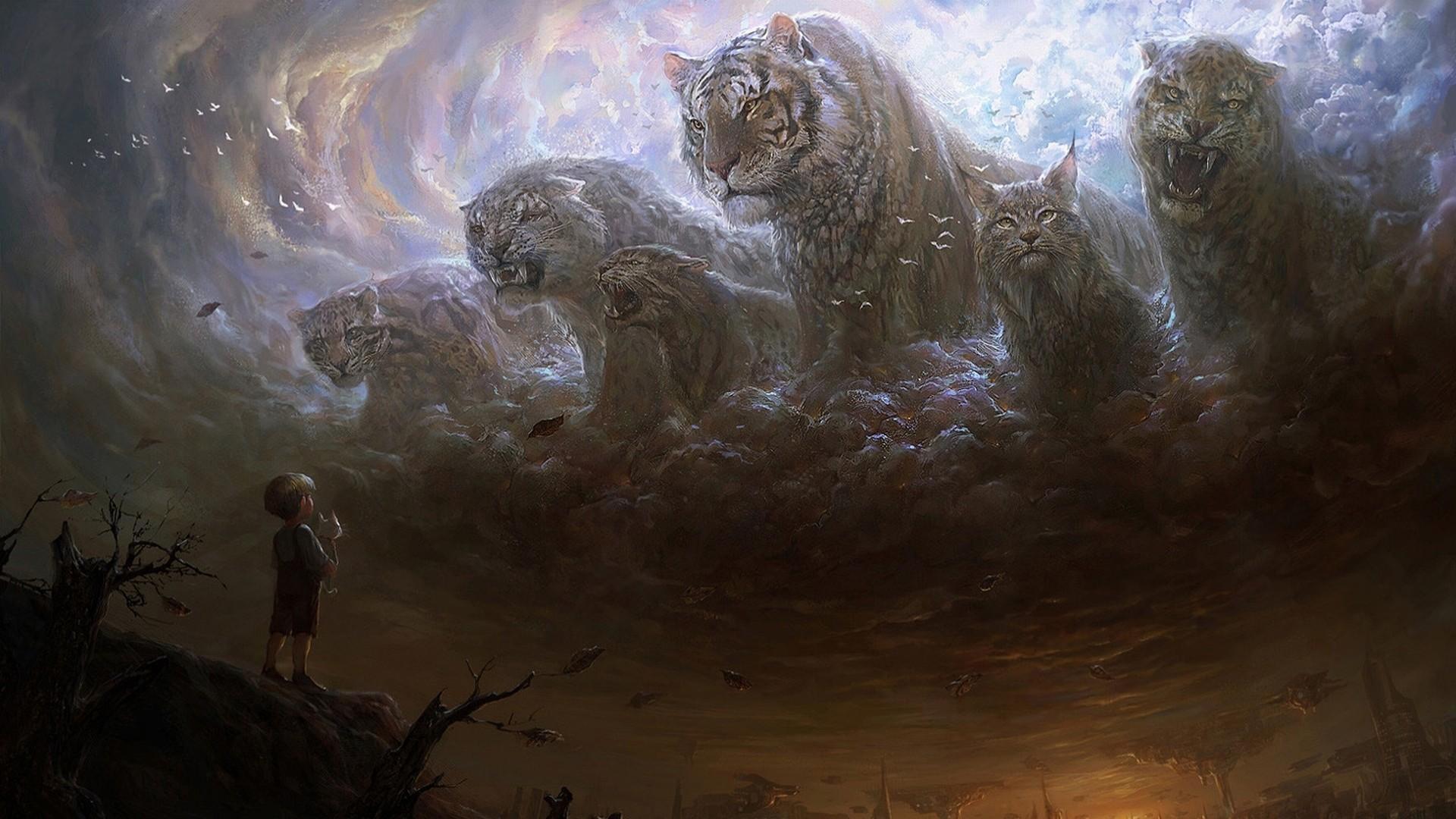 Lion Animal Wallpaper 3d Children Artwork Fantasy Art Digital Art Tiger Clouds