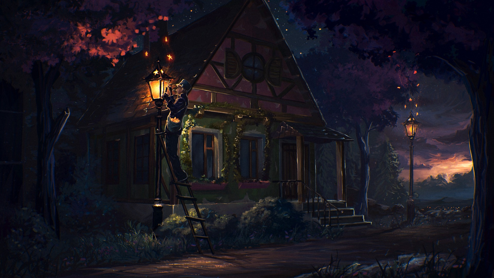 Street Light At Night Painting Old People Fantasy Art Digital Art Street Light House