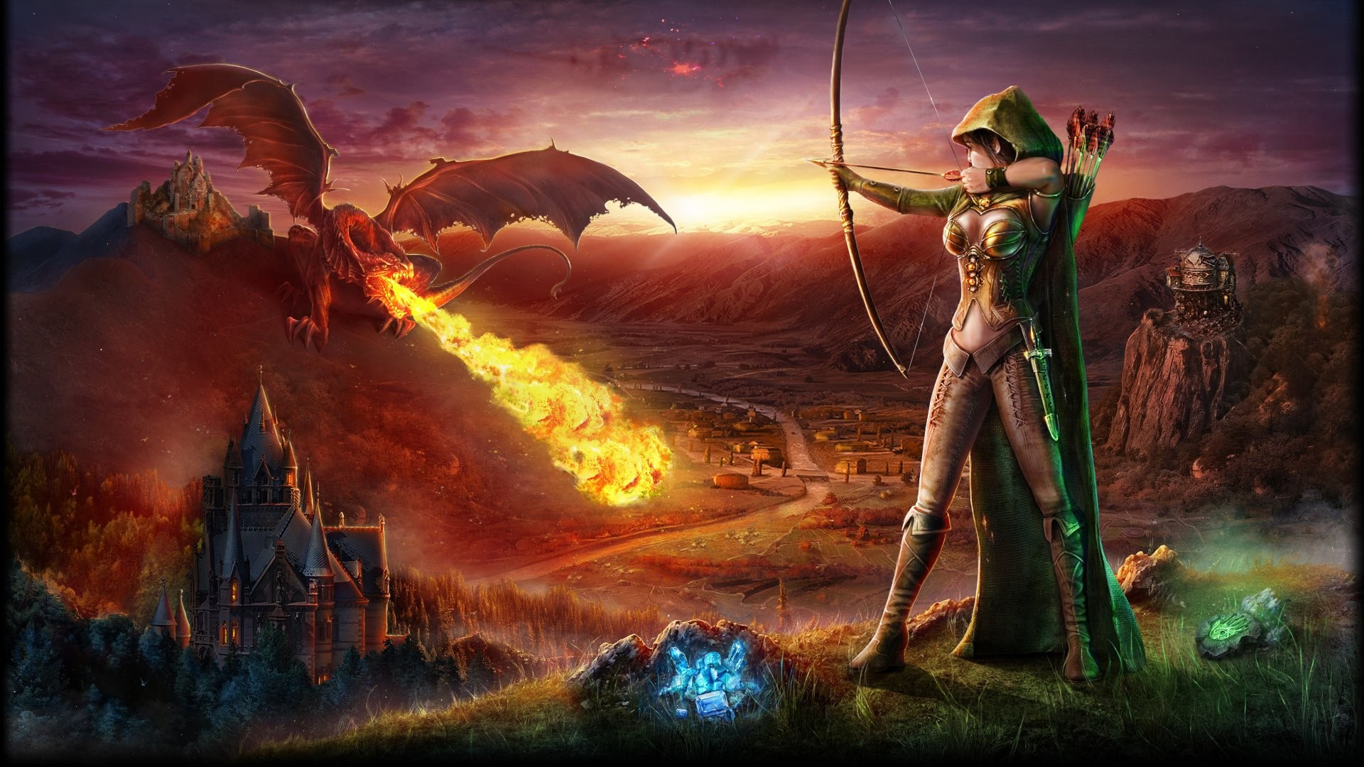 Fantasy World Art Dragon Fire Dragon Archer Artwork War Armor Fire Castle