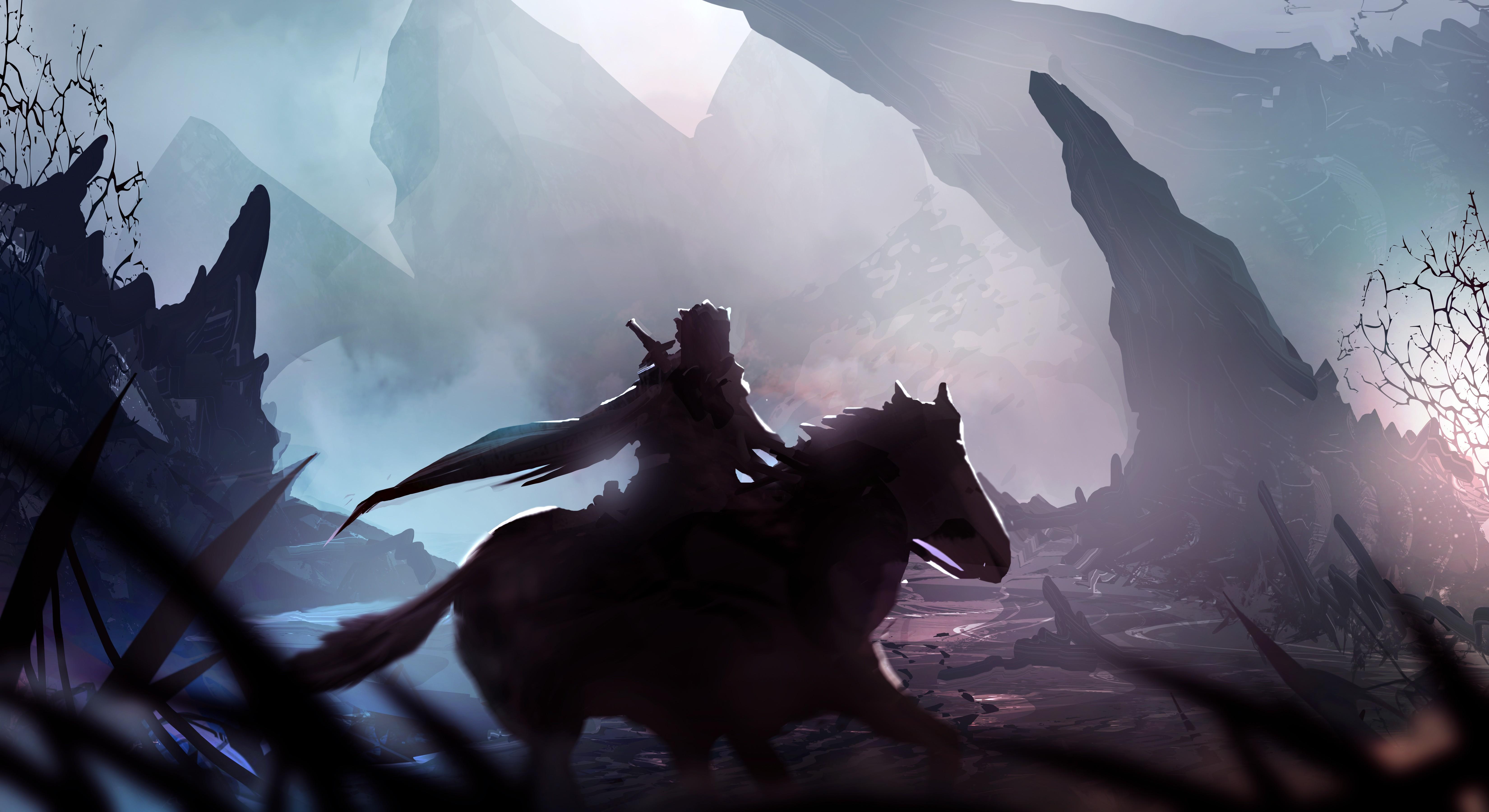 Lightning 3d Wallpaper Warrior Loneliness Hero Fantasy Art Mist Horse Rock
