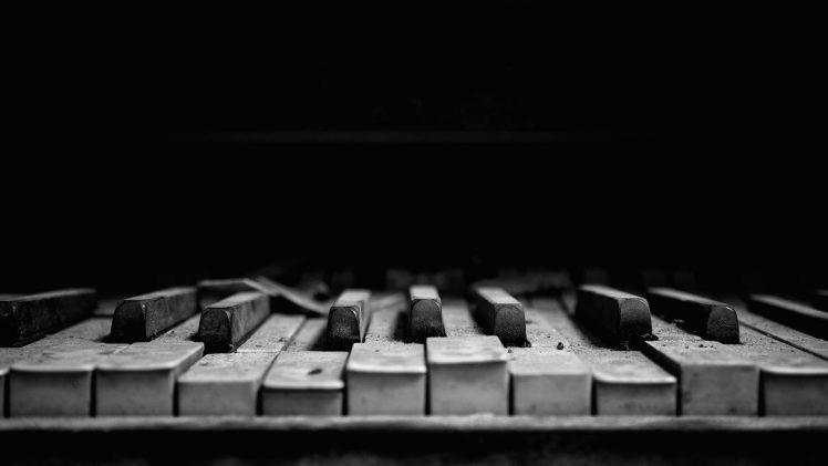 piano, Musical instrument, Dust, Music, Macro, Dark Wallpapers HD