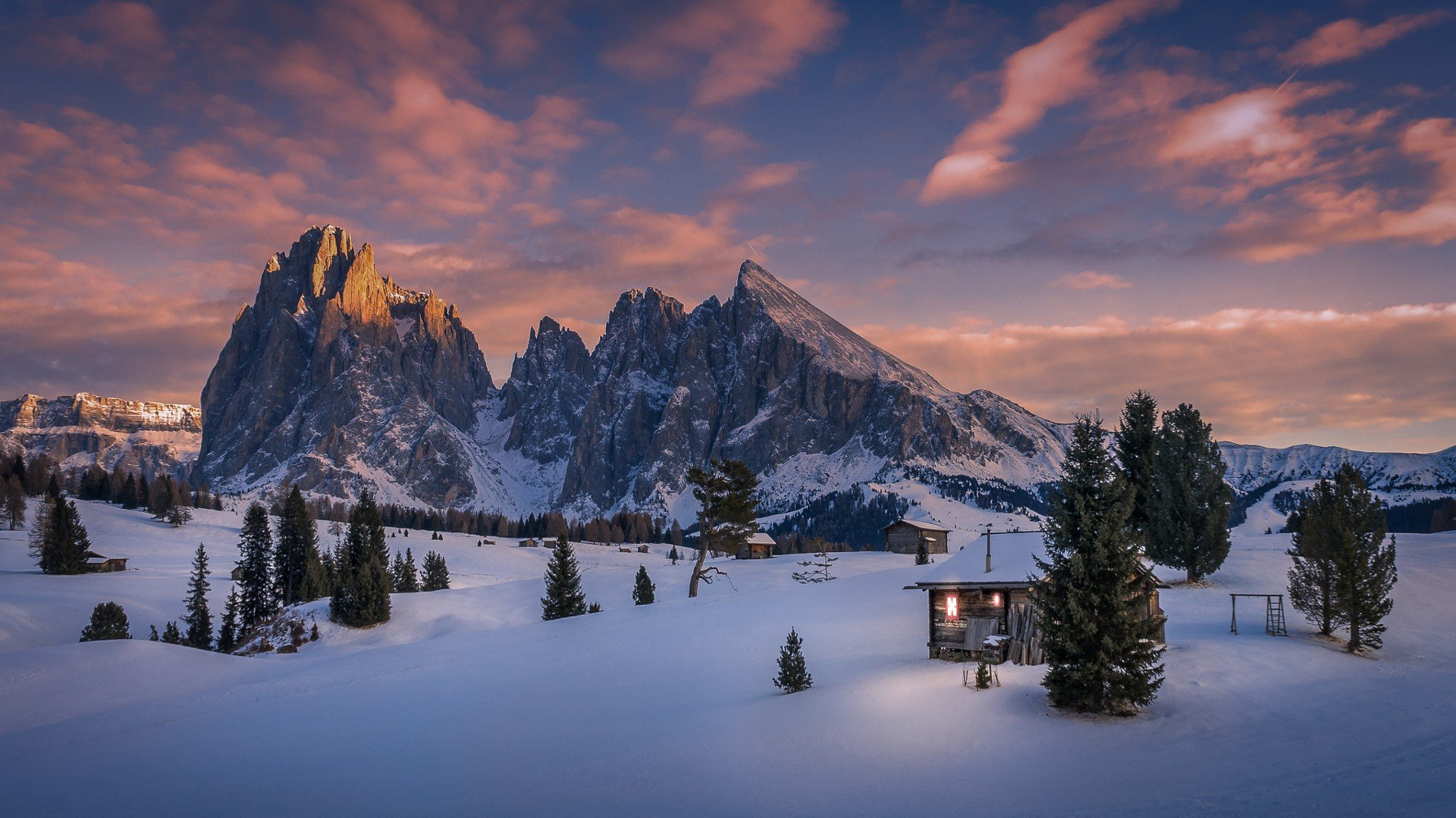 Funny 3d Wallpaper Snow Cabin Mountains Dolomites Mountains Italy Pine