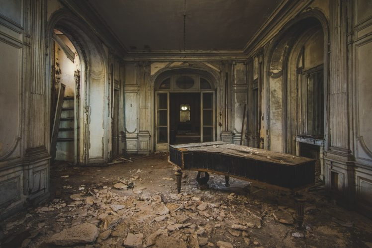 photography, Abandoned, Interiors, Interior design, Piano, Old