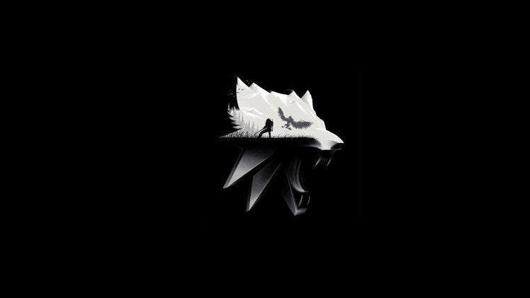 The Witcher, The Witcher 3 Wild Hunt, Simple background, Monochrome