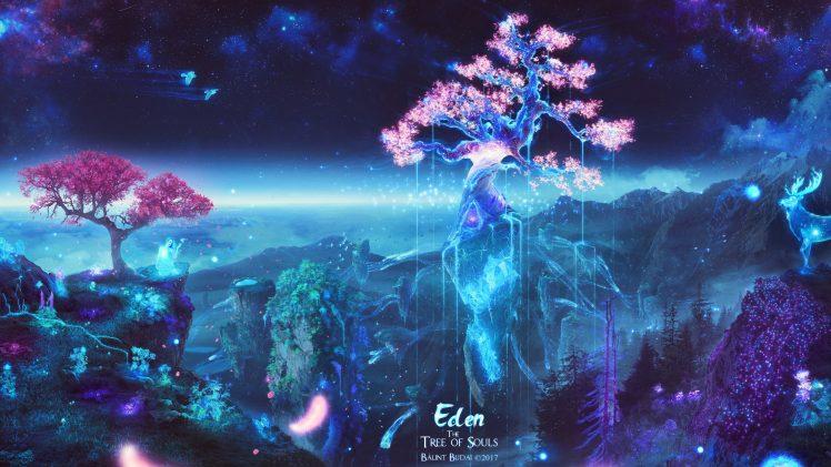 Cell Wallpaper Hd Illustration Fall Souls Trees Space Galaxy Sakura Tree Deer