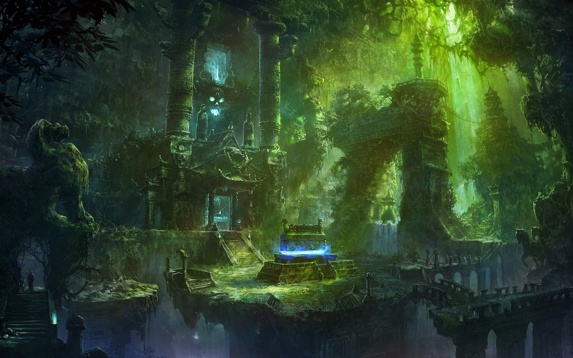 Wallpaper Skull 3d Fantasy Art Spooky Temple Jungle Nature Skull Magic