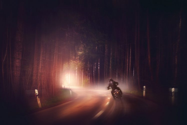 Full Hd Motorcycle Wallpaper Dark Motorcycle Road Digital Art Wallpapers Hd