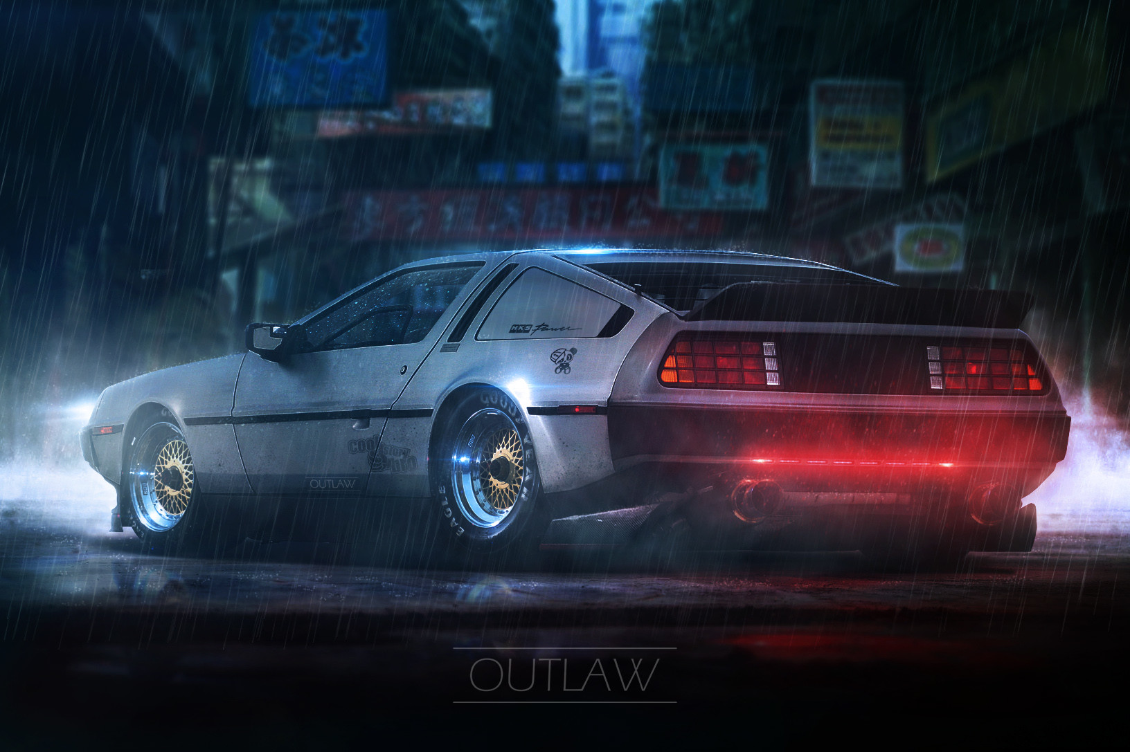 Retro Car Home Wallpaper Car Jdm Delorean Neon Smoke Fan Art Fantasy Art