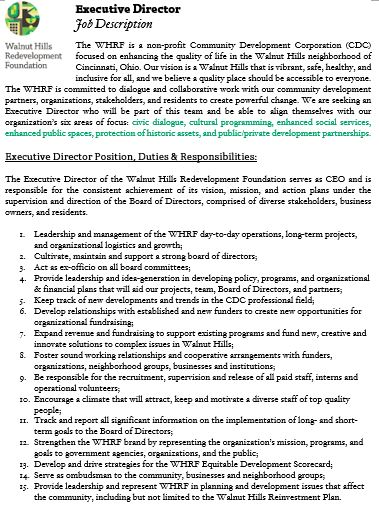 Executive Director Applications \u2013 Walnut Hills Redevelopment Foundation - executive director job description