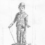 Charlie Chaplin Street Entertainer: Drawing London on Location/44th Worldwide Sketch Crawl: Portabello Road Market. This street entertainer took photographs of us sketching him then would not let us depart without examining and admiring our work and then showed us some of his own paintings he had photographed previously on his mobile phone. Wonderful.