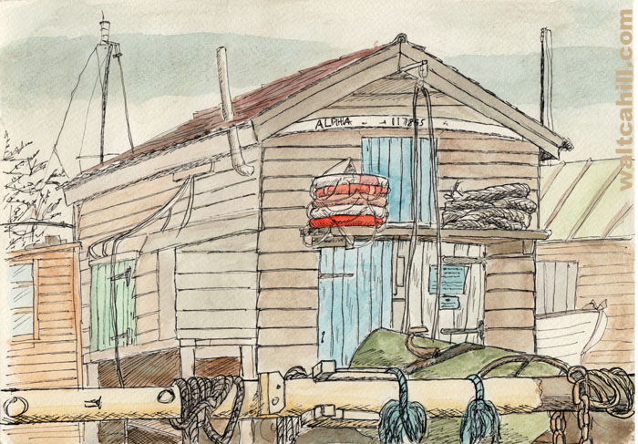Alpha 117895: Beach hut in Southwold Harbour on the River Blyth in Walberswick