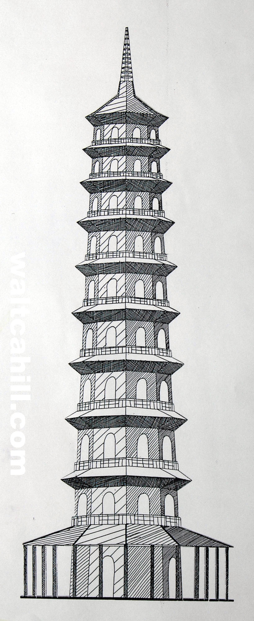 The Pagoda in Kew Gardens (ink)