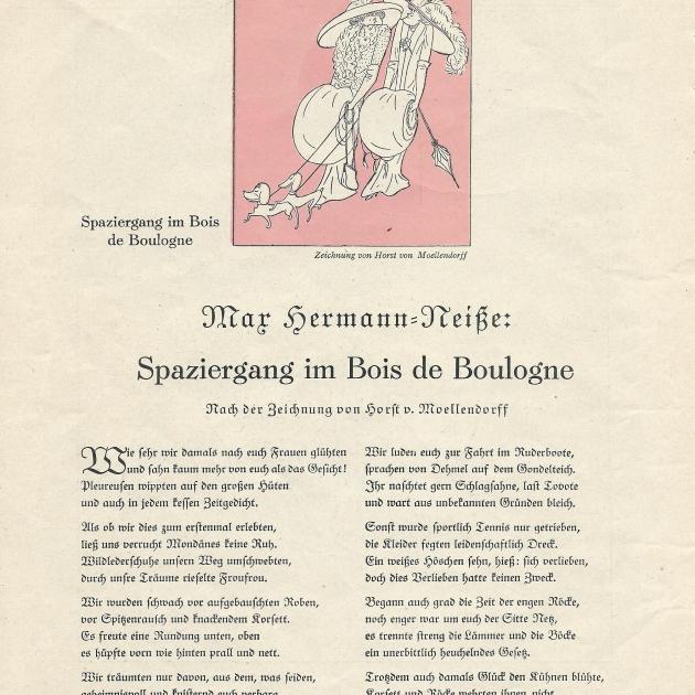 Max Hermann-Neiße dichtet nach einer Zeichnung von Horst von Moellendorff