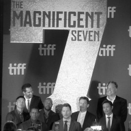 "The cast of ""The Magnificent Seven"" at the film's premiere."