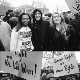 From left to right: Brooke Scott, Shelby Kuchenbrod and Carissa Gulick at the Women's March on Philadelphia.