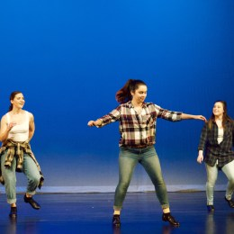 From left: Hannah Brumbach, Maddie Ridgeway and Jordan Bonney perform a tap trio.