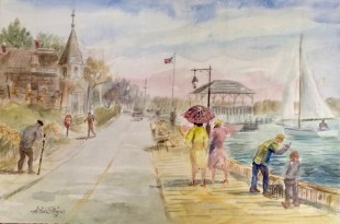 Example of an American watercolor done by native Philadelphia artist Arthur Stevens.