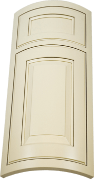 Convex curved custom cabinet door shown with inset face