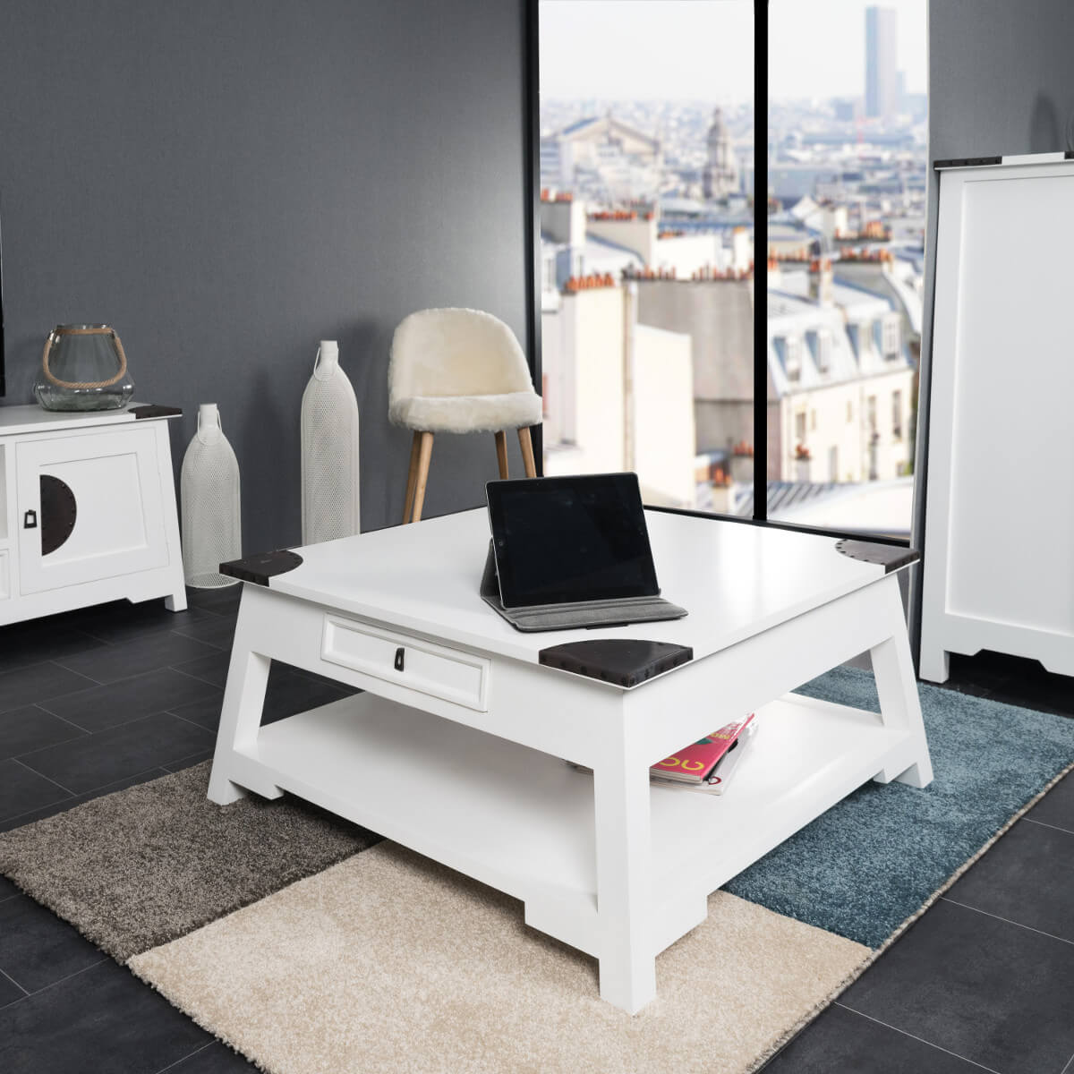 De Salon Blanc Table Basse De Salon En Acajou Thao Blanc 85