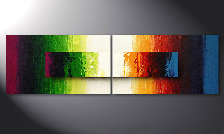 Gerahmte Bilder Das Moderne Wandbild Battle Of Colours 200x60cm