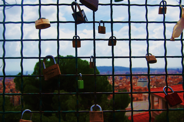 Padlocks in Parc Guell, View from Parc Guell, Barcelona