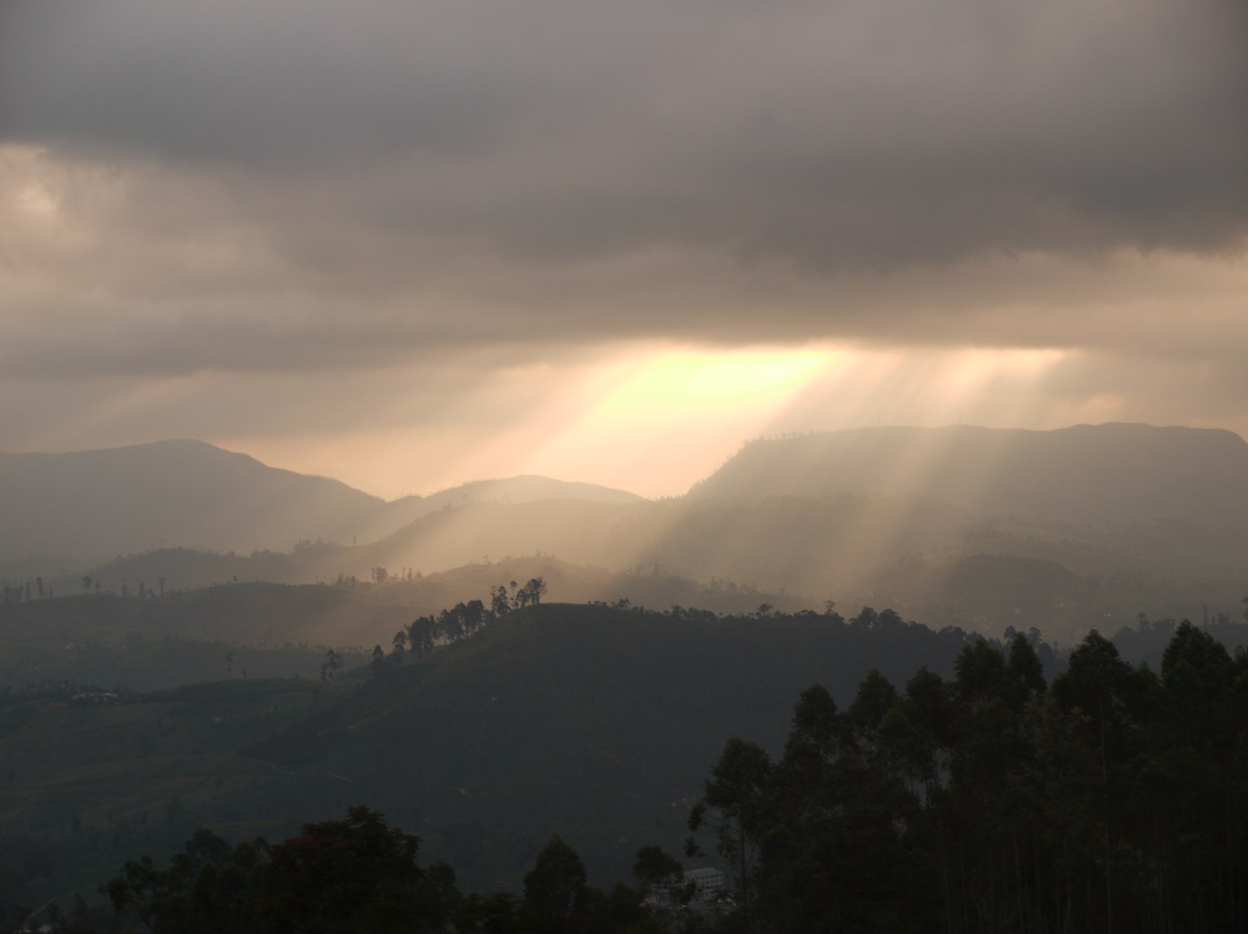 The last of the sun breaks through the clouds as duesk settles in in Sri Lanka's Hill Country