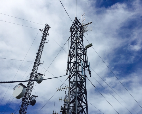 Radio towers on Mount Defiance.