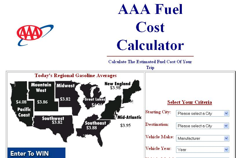 AAA Fuel Cost Calculator Wanderus - Travel Tips for the Traveling