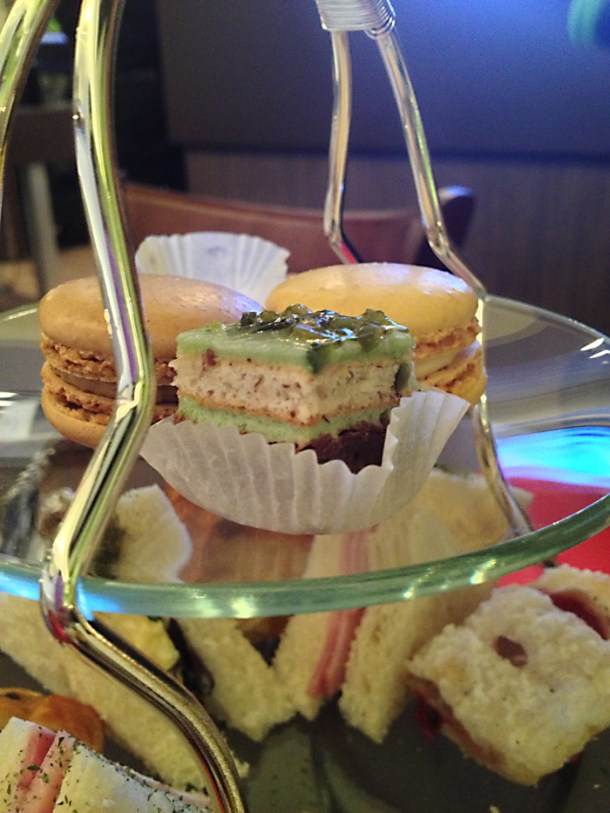 cake and macarons