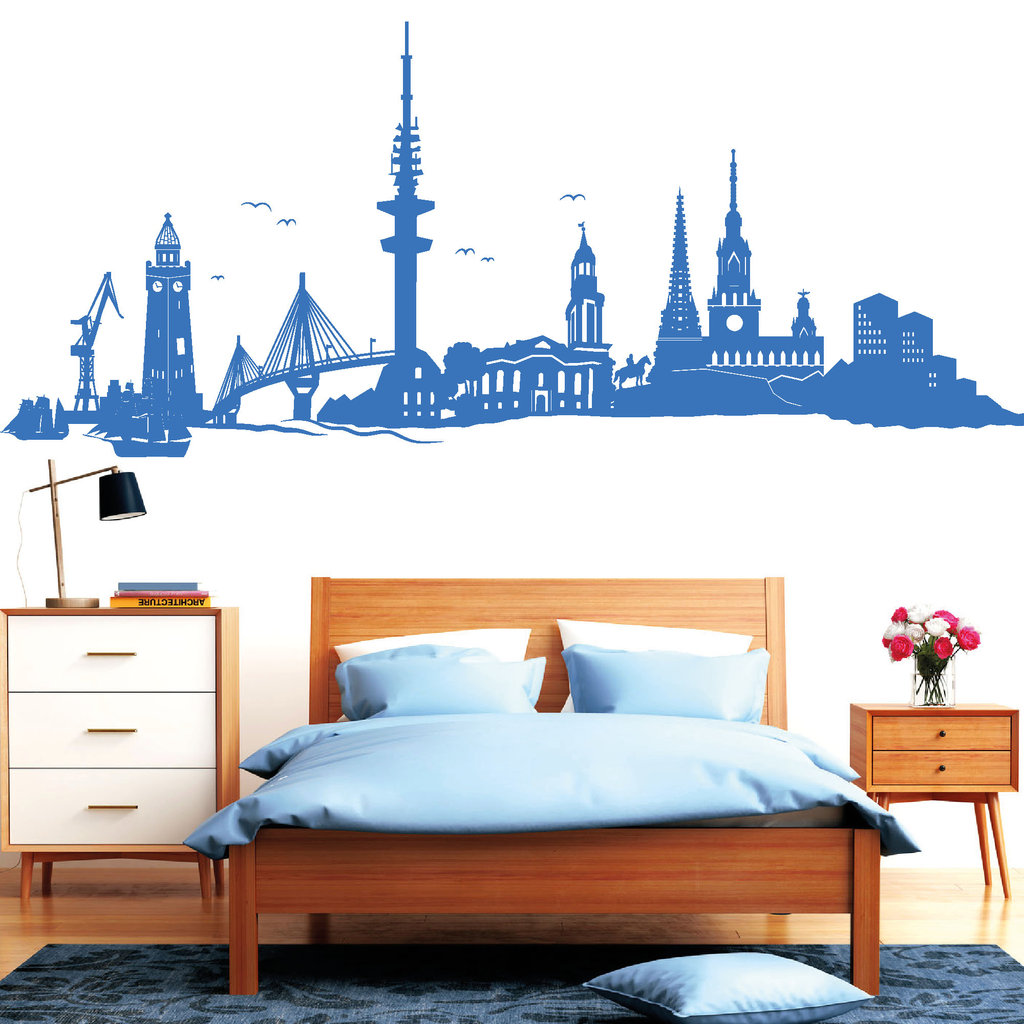 Hamburg Skyline Bild Hamburg Skyline Wandtattoos