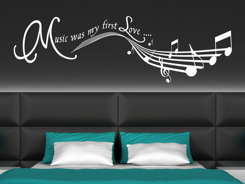 Schlafzimmer Wand Hinter Dem Bett Wandtattoo Music Was My First Love Wanddekor | Wandtattoo.com