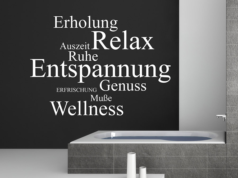 Eulen Wandtattoo Wandtattoo Worte - Relax, Genuss, Wellness... - Homesticker.de
