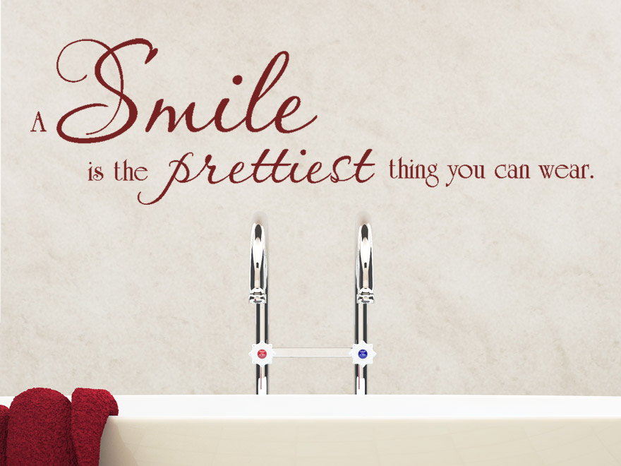 Badezimmer Klein Schwarz Wandtattoo A Smile Is The Prettiest Thing You Can Wear