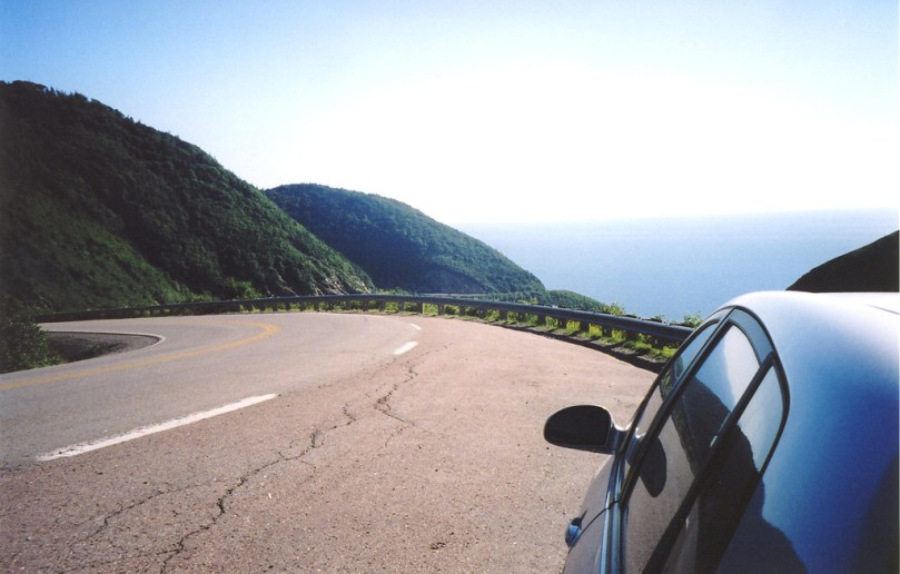 Our poor old car on the Cabot Trail.