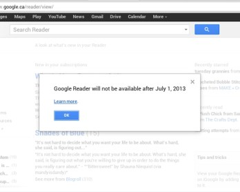 Google Reader's death notice.