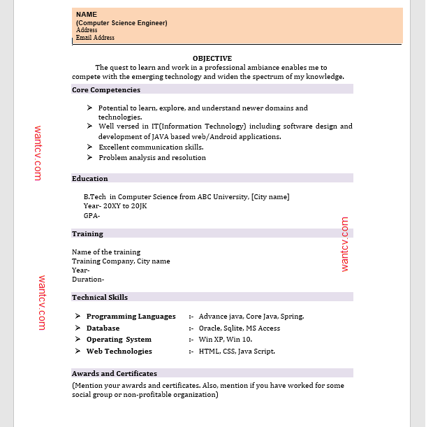Resume Format For Computer Science Engineering Students Freshers Top 10 Fresher Resume Format- In Ms Word |free Download