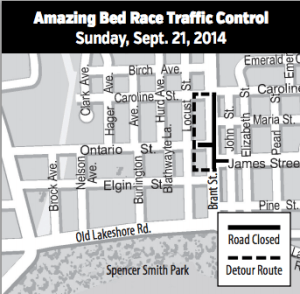 Amazing Bed Race downtown Sept. 21 – Map & Road Closures