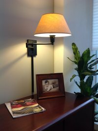 Wall mounted swing arm lamps