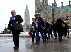Indian Act chiefs arrive for Crown-First Nations summit, Jan 2012.