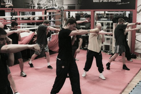 Beginners boxing class in action
