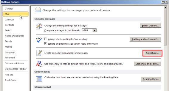 Create signature - Outlook 2010