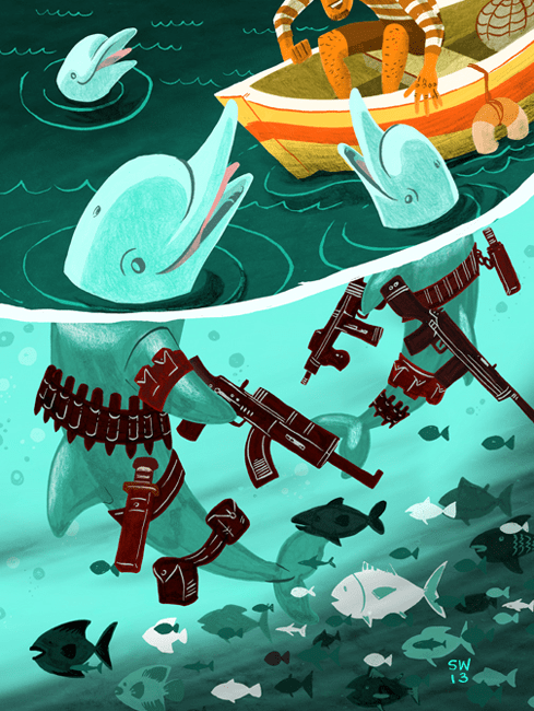Illustration of dolphins who appear friendly to the fisherman above the water, but below the water are holding machine guns and weaponry
