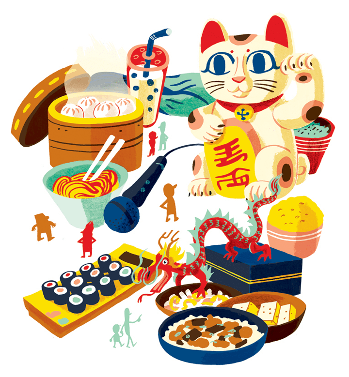 Illustration of various Asian motifs including a dragon, sushi, rice, noodles, pork buns, boba tea, and a Lucky Cat (Maneki Neko)