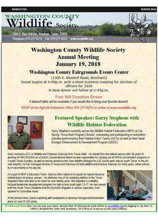 Washington County Wildlife Society - Newsletters - og and e